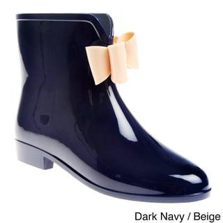 Henry Ferrera Women's Solid Bow Detail Rubber Ankle Rain boot