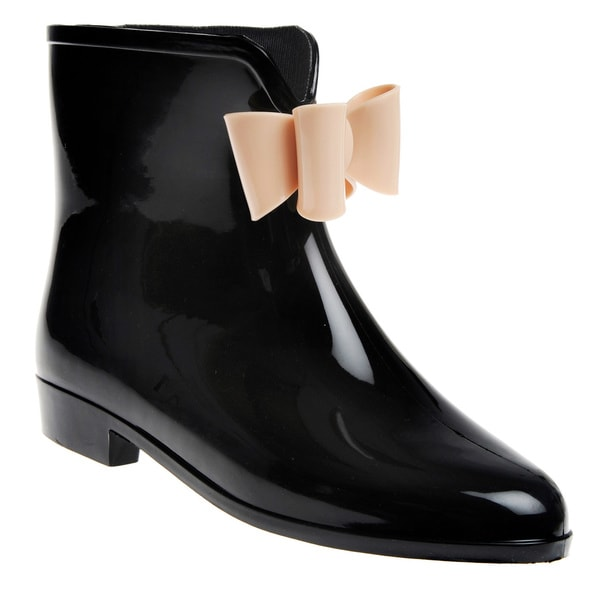 Solid Bow Detail Rubber Ankle Rain boot