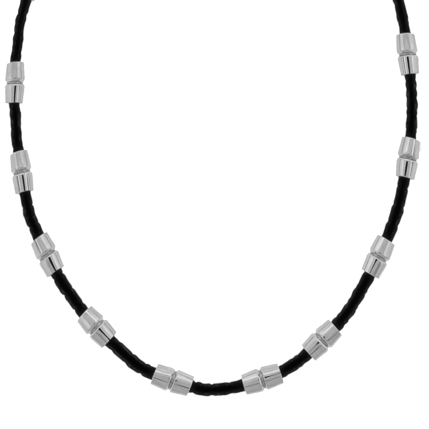 SEARS Stainless Steel Black Leather Necklace (Men's Leath...