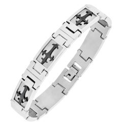 Black Ion-plated Stainless Steel Men's Cross Detail Link Bracelet