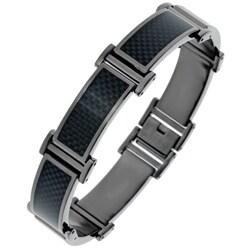 Black Ion-plated Stainless Steel Men's Carbon Fiber Link Bracelet