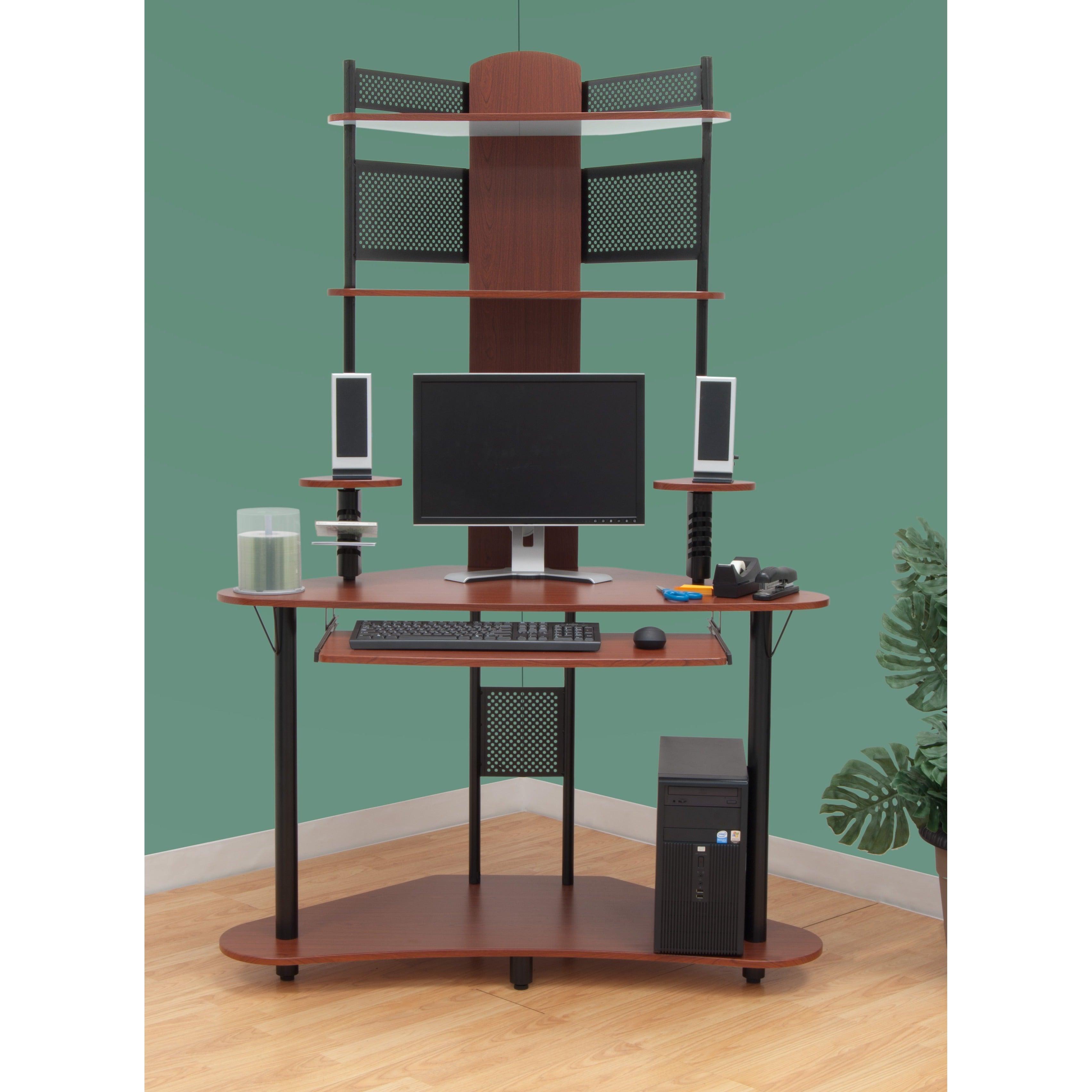 Calico Designs Arch Corner Computer Desk With Hutch Tower