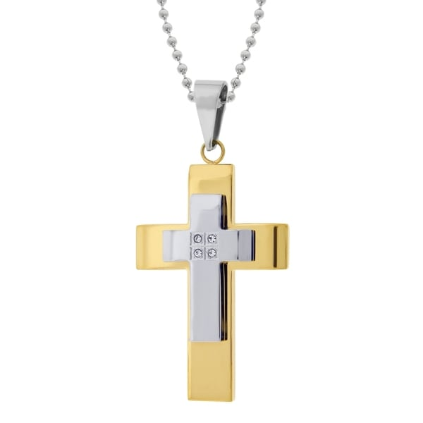 Stainless Steel Two-layer Cross with Gold IP and Cubic Zirconia Pendant Necklace