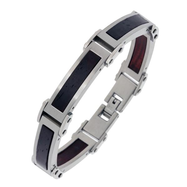Stainless Steel Men's Wood Inlay Link Bracelet
