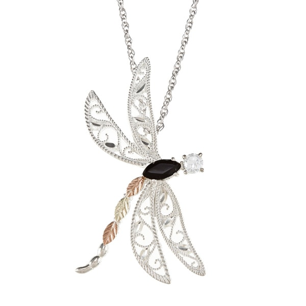 Black Hills Gold and Silver Onyx and Cubic Zirconia Dragonfly Necklace