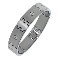 Stainless Steel Men's Screw Detail Link Bracelet