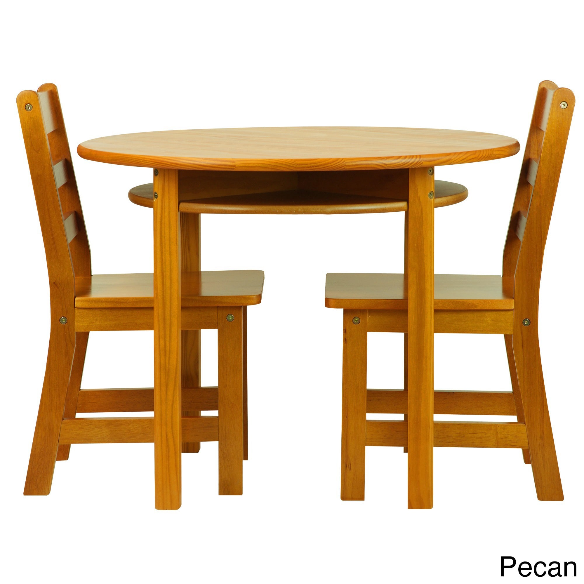 Childrens Round Table and Chair Set (Brown - Cherry Finish)