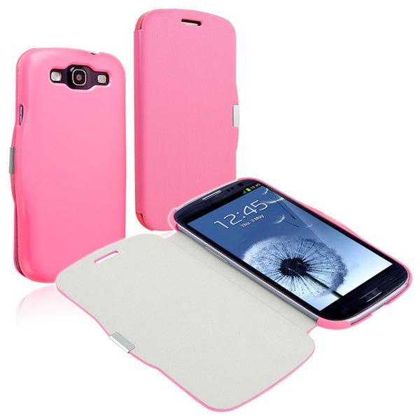 BasAcc Pink Leather Case with Magnetic Flap for Samsung Galaxy S lll i9300