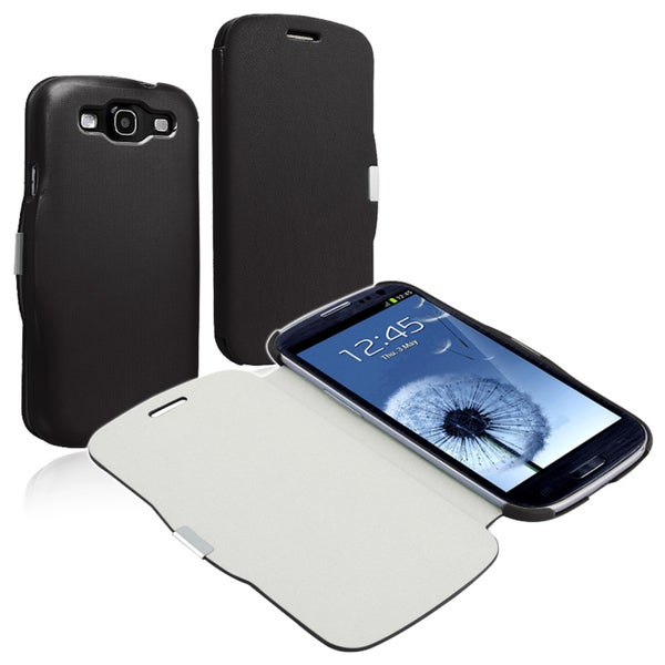 INSTEN Black Leather Phone Case Cover with Magnetic Flap for Samsung Galaxy S lll i9300