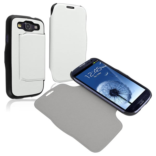 BasAcc White Leather Case for Samsung Galaxy S III i9300
