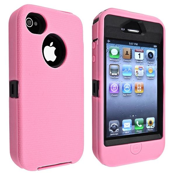 INSTEN Black Hard Plastic/ Pink Skin Hybrid Phone Case Cover for Apple iPhone 4/ 4S