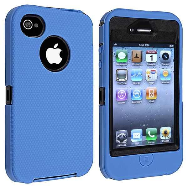 INSTEN Black Hard Plastic/ Blue Skin Hybrid Phone Case Cover for Apple iPhone 4/ 4S