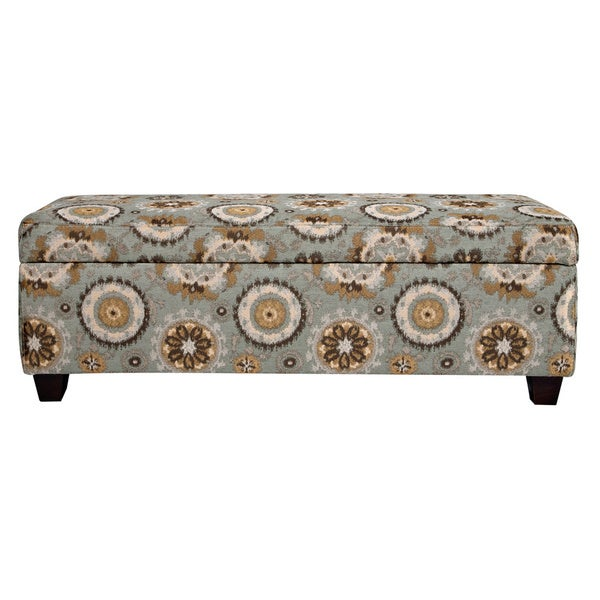 Handy Living Kent Vintage Tapestry Blue Wall Hugger Trunk Storage Ottoman