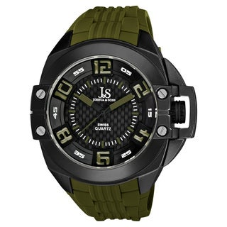 Joshua & Sons Green Men's Swiss Quartz Silicon Strap Crown Guard Watch