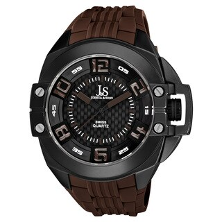 Joshua & Sons Brown Men's Swiss Quartz Strap Crown Guard Watch