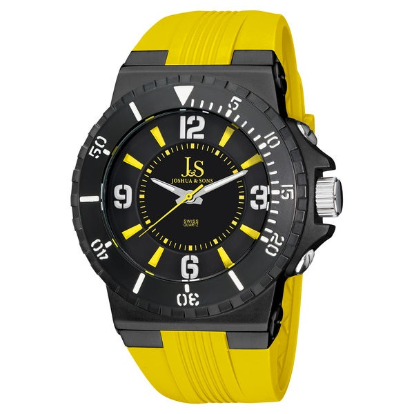 Joshua & Sons Men's Bold Swiss Quartz Strap Watch with Tang Buckle Clasp