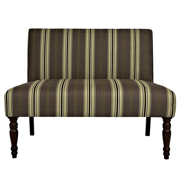 angelo:HOME Bradstreet Modern Classic Stripe Java Brown Upholstered Armless Settee
