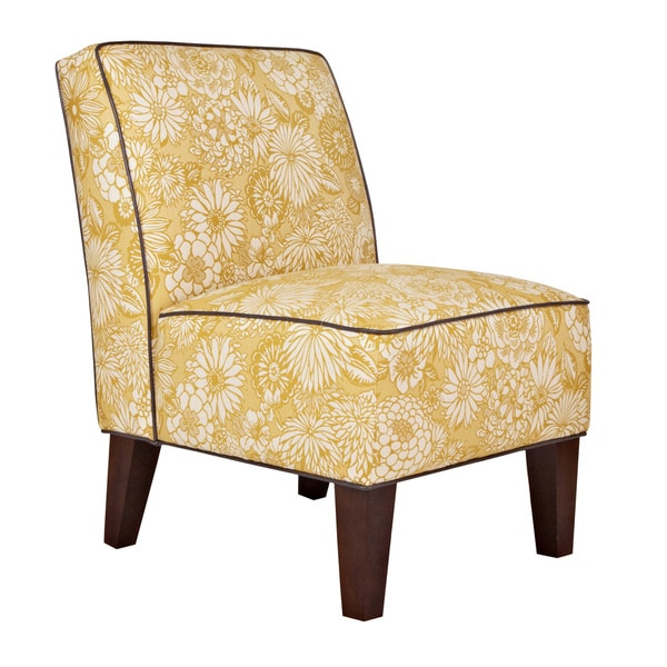 Handy Living Dover Vintage Sun-Washed Floral Tan Armless Chair