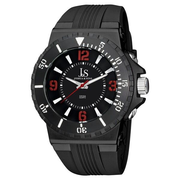 Joshua & Sons Men's Bold Swiss Quartz Stainless Steel Case Silicon Strap Watch