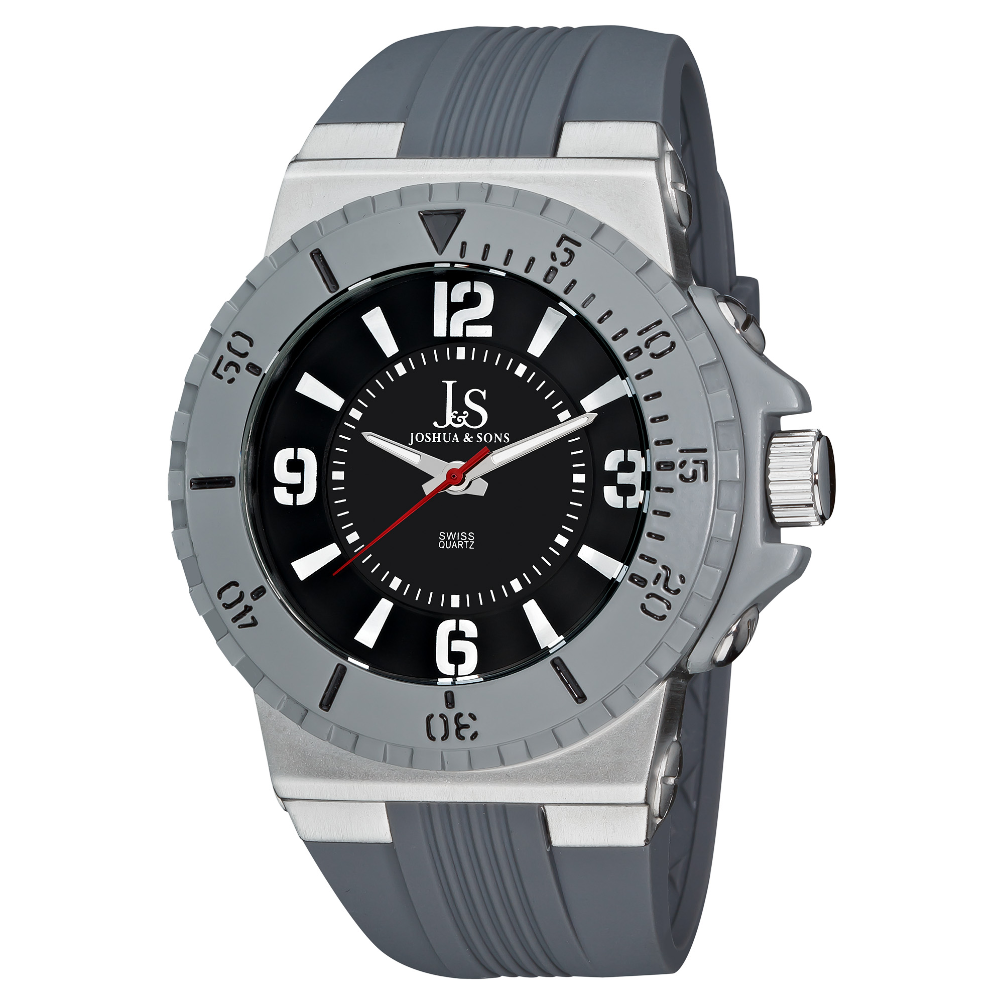 Joshua & Sons Men's Bold Swiss Quartz Grey Strap Round Watch