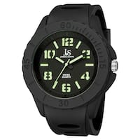 Joshua & Sons Men's Black Luminous Swiss Quartz Sport Watch