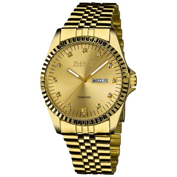 August Steiner Men's Diamond Stainless Steel Gold-Tone Bracelet Watch