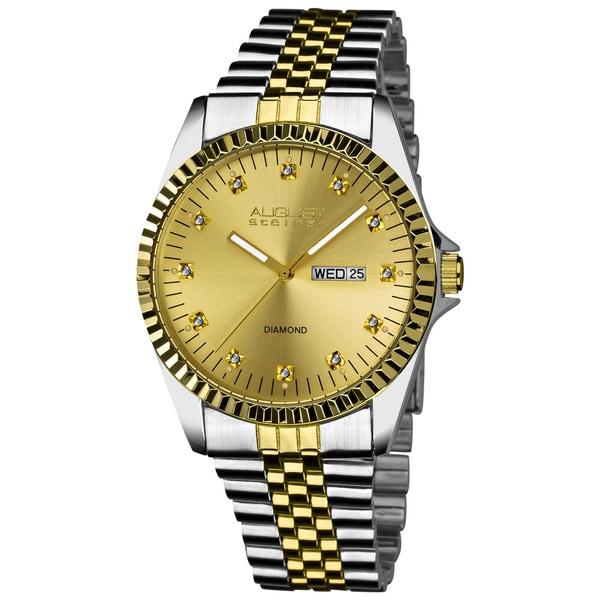 August Steiner Men's Quartz Diamond Stainless Steel Two-Tone Bracelet Watch with FREE GIFT - White