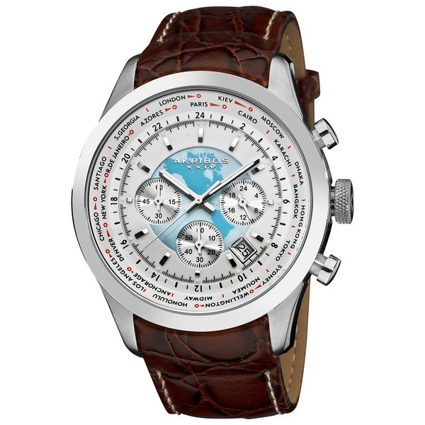 Akribos XXIV Men's Stainless Steel Leather Strap Chronograph Watch