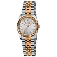August Steiner Women's Diamond Water-resistant Stainless Steel Two-Tone Bracelet Watch