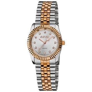 August Steiner Women's Diamond Water-resistant Stainless Steel Two-Tone Bracelet Watch