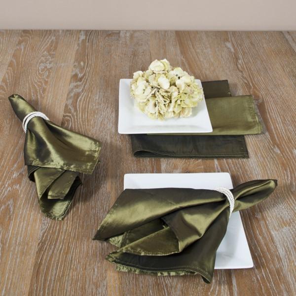 Plain Olive Dinner Napkins (Set of 4)