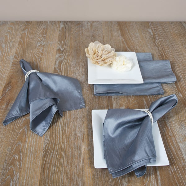 Plain Grey Dinner Napkins (Set of 4)