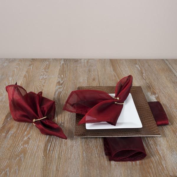 Sheer Tissue Plain Burgundy Napkins (Set of 4)