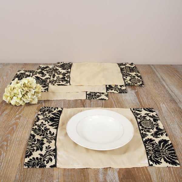 Flocked Champagne Placemats (Set of 4)