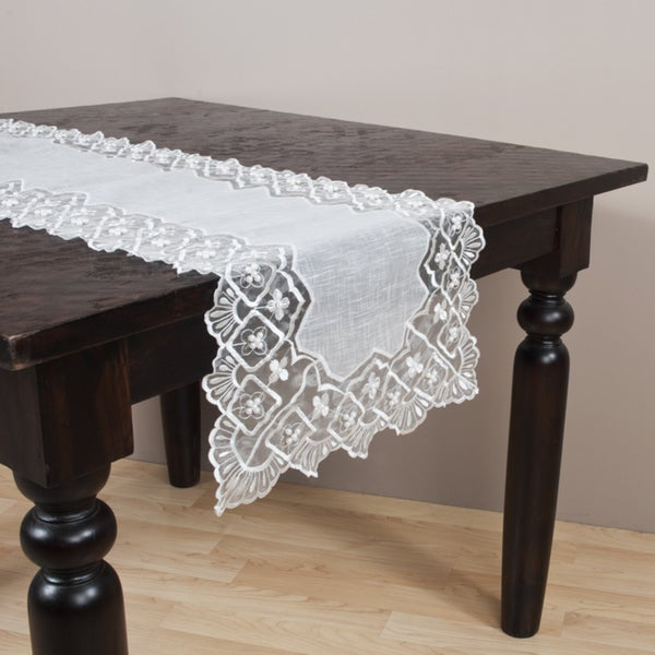 Embroidered and Hand-beaded Table Runner