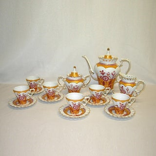 15-piece Pink Gold Floral Pot, cups and Saucers Tea Set