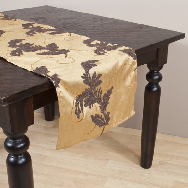 French Knot Design Caramel Table Runner