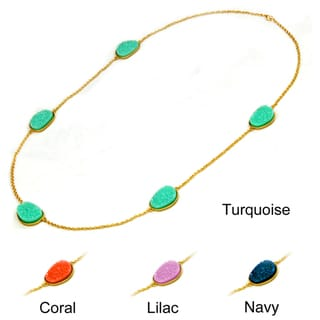 Goldtone Colored Oval-shaped Faux Druzy Station Necklace