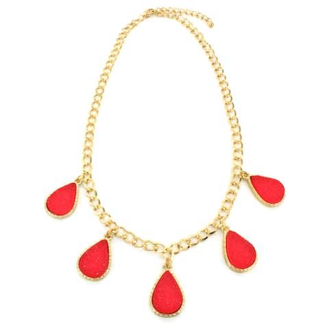 Goldtone Faux Druzy Teardrop Charm Necklace
