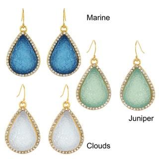 West Coast Jewelry Goldtone Created Druzy and Crystal Trim Teardrop Earrings