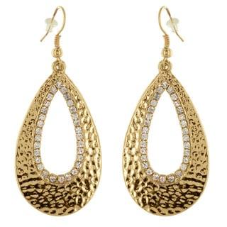 West Coast Jewelry Goldtone Crystal Trim Hammered Teardrop Earrings