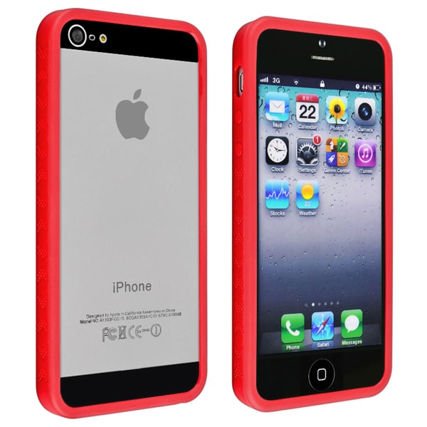 INSTEN Red Bumper TPU Phone Case Cover for Apple iPhone 5
