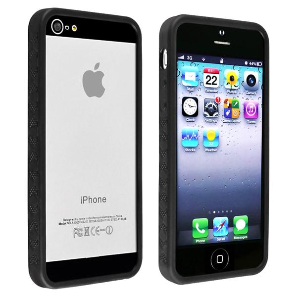 INSTEN Black Bumper TPU Phone Case Cover for Apple iPhone 5