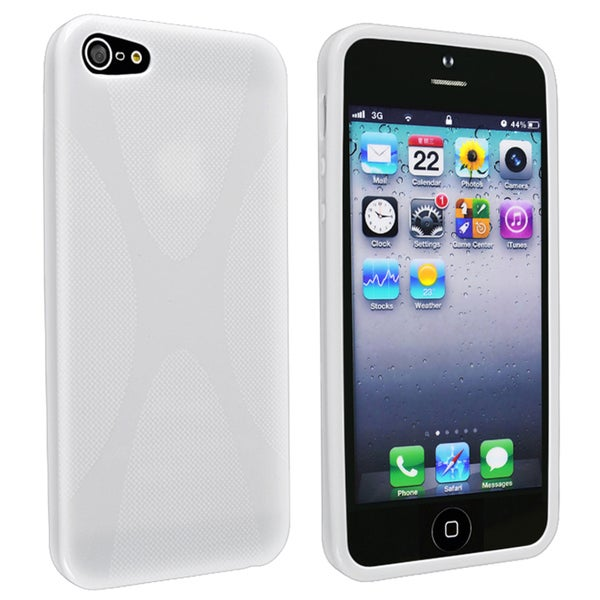 INSTEN White X Shape TPU Phone Case Cover for Apple iPhone 5