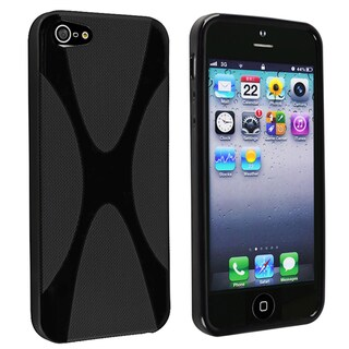 INSTEN Black X Shape TPU Phone Case Cover for Apple iPhone 5