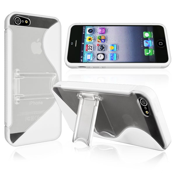 INSTEN White S Shape TPU Phone Case Cover with Stand for Apple iPhone 5