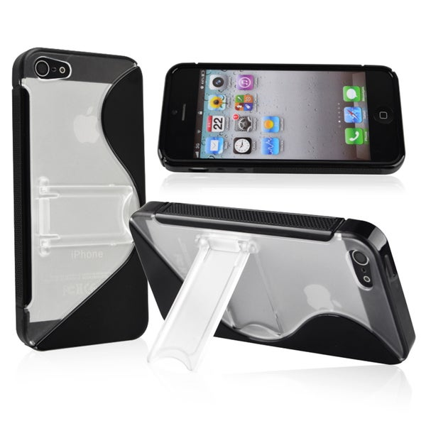 INSTEN Black S Shape TPU Phone Case Cover with Stand for Apple iPhone 5