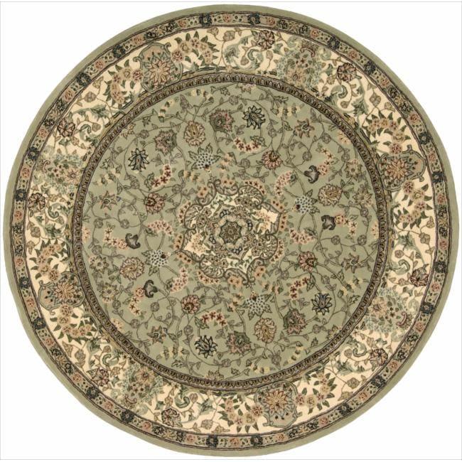 Nourison 2000 Hand-tufted Tabriz Light Green Rug (6 x 6) Round