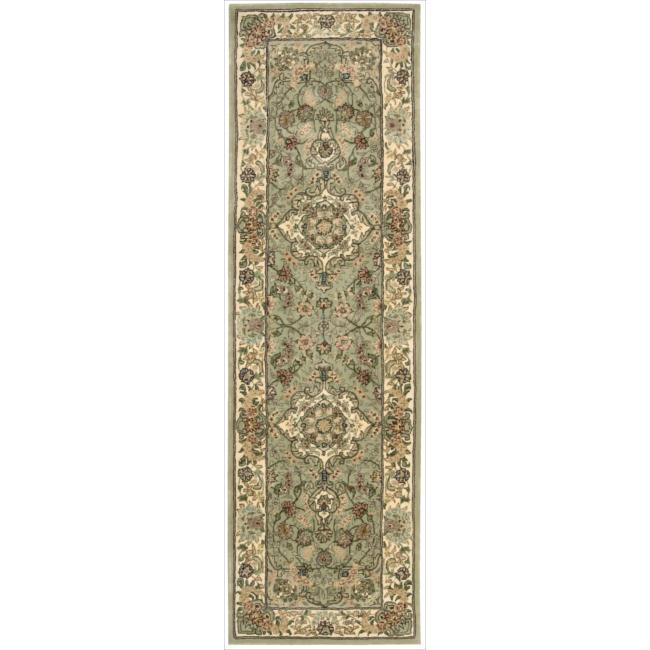 Nourison 2000 Hand-tufted Tabriz Light Green Rug (2'6 x 12)