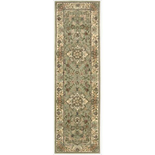 Nourison 2000 Hand-tufted Tabriz Light Green Rug (2'3 x 8)